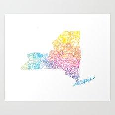 Typographic New York in Springtime Art Print