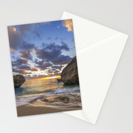 Kalamitsi beach at sunset long exposure Stationery Cards