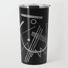 Kandinsky - Black Background Abstract art Travel Mug