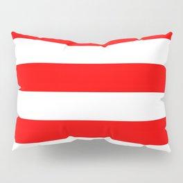 Horizontal Stripes - White and Red Pillow Sham