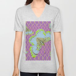 CHARTREUSE-WHITE EXOTIC BUTTERFLY Unisex V-Neck