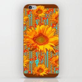 Coffee Brown Sunflower Pattern Orange & Turquoise iPhone Skin