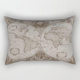 Antique Brown Map Rectangular Pillow