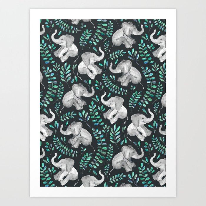 Laughing Baby Elephants – emerald and turquoise Kunstdrucke