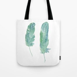 Green Feathers Tote Bag