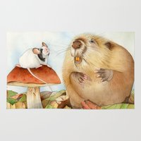 beaver Area & Throw Rugs featuring Mouse & Beaver by Patrizia Donaera ILLUSTRATIONS