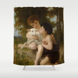 "William-Adolphe Bouguereau ""Les Enfants à L'Agneau (Children With the Lamb)"" Shower Curtain"