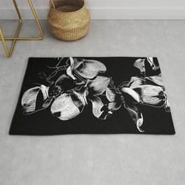 Dogwood Tree Flowers (black background) Rug