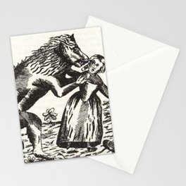 Werewolf attack Medieval etching Stationery Cards