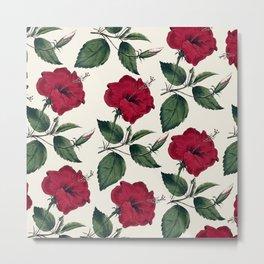 Botanical vintage dark red green ivory floral Metal Print