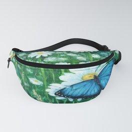 Boho Blue Morpho Art, Butterfly Morpho Painting, Botanical Chamomile Art, Butterfly Garden Painting, Fanny Pack
