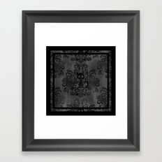 Creepy Cat Damask Framed Art Print