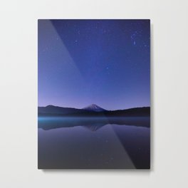 Purple Lilac Lullaby Japanese Mountains At Night Star Sky Relaxing Cozy Landscape Metal Print