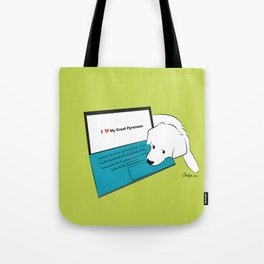 Techie Great Pyrenees Puppy Tote Bag