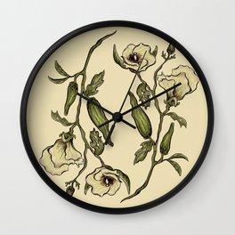 Botanical Okra Wall Clock