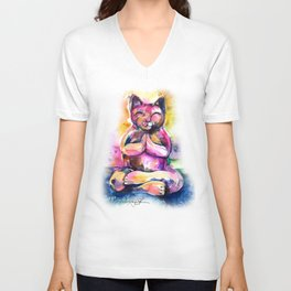 Buddha Cat No. 11 Unisex V-Neck