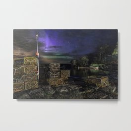 Lobster Trap Aurora Metal Print