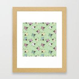 Pajama'd Baby Goats - Green Framed Art Print