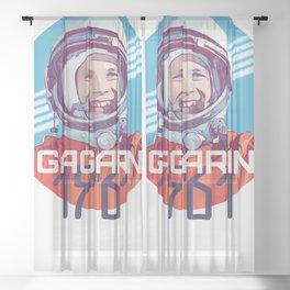 Yuri Gagarin first man in space Sheer Curtain