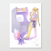 sailormoon Canvas Prints featuring 90s Sailormoon by Collectif PinUp!