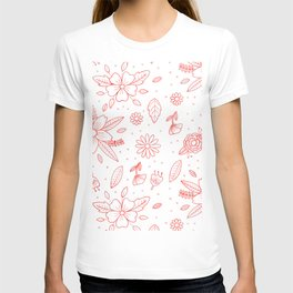 White marble flower pattern T-shirt