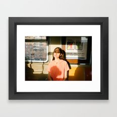 Girl on train Framed Art Print