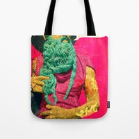 attack on titan Tote Bags featuring Titan by Alec Goss
