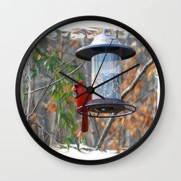 Male Cardinal Wall Clock