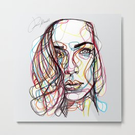 portrait style line - ritratto in stile linee colorate - lignes style portrait couleur Metal Print