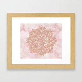 Rose gold mandala - pink marble Framed Art Print