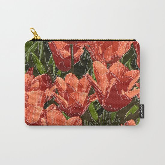 red tulips white lines Carry-All Pouch