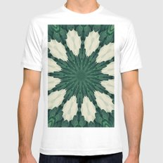Tropical Sacramento Green and Silver Leaf Mandala Mens Fitted Tee MEDIUM White