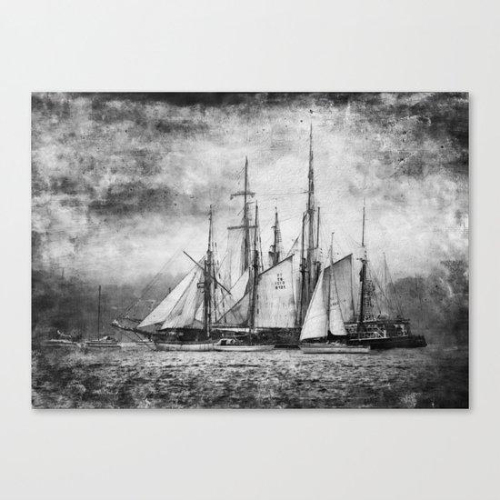 black and white ship Canvas Print