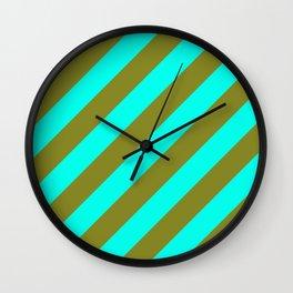 Cyan Blue And Army Khaki Green Stripes Wall Clock