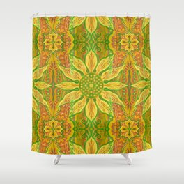 Sun Flower, bohemian floral, yellow, green & orange Shower Curtain