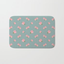 Pink Roses Repeat Pattern on Teal Bath Mat