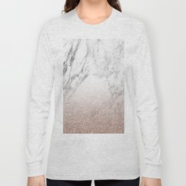 Marble sparkle rose gold Long Sleeve T-shirt