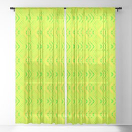 Striped melon hearts on a yellow background. Sheer Curtain