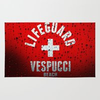grand theft auto Area & Throw Rugs featuring Los Santos Vespucci Beach Lifeguard Grand Theft Auto by KeenaKorn