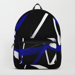Seamless Royal Blue and White Stripes on A Black Background Backpack