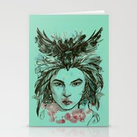 viria Stationery Cards featuring Crow queen by viria