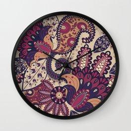Maroon Boho Paisley & Floral Pattern Wall Clock