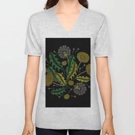 Embroidered Flowers on Black Circle 16 Unisex V-Neck