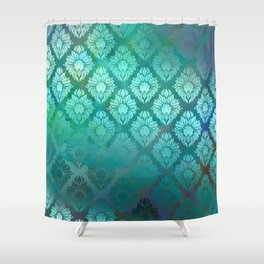 """Turquoise Ocean Damask Pattern"" Shower Curtain"