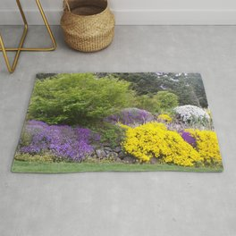Beautiful Landscape With Purple and Gold Flower, Lush Landscape, Green Rug