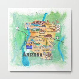 USA Arizona State Travel Poster Illustrated Art Map Metal Print