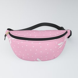 White Dragonfly Christmas seamless pattern and Snow White Confetti on Pink Background Fanny Pack