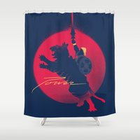 power rangers Shower Curtains featuring Power by Dega Studios