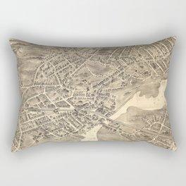 Vintage Pictorial Map of Norwalk CT (1889) Rectangular Pillow