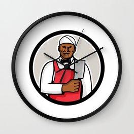 African American Butcher Circle Mascot Wall Clock